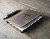 Caduceus Symbol Leather Journal Notebook Personalized Leather Journal Leather Notebook #072
