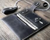 Biker Wallet Chain, Mens Leather Biker Chain Wallet - Listing #012