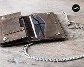 PERSONALIZED Wallet, Leather Biker Chain Wallet, Long Wallet, Personalized Chain Wallet, PERSONALIZED Leather Biker Wallet #053