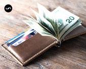 Money clip leather wallet, Slim leather wallet, Slim wallet, leather money clip,slim wallet,minimalist wallet,card wallet groomsmen gift#028