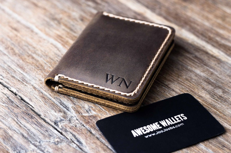 b18fa8cfae50 Wallet - PERSONALIZED - Mens Leather Card Wallet - Gift Ideas for Him Her -  JooJoobs Original - 010