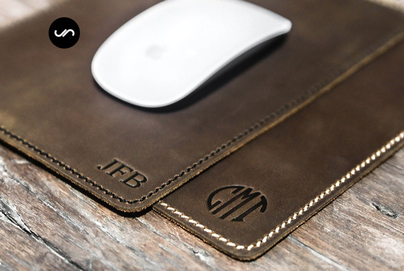 Personalized Mouse Pad Leather Mousepad Office gift Modern image 0