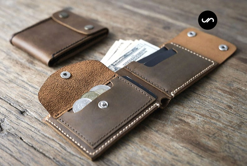MENS LEATHER WALLET Handmade Wallet with Coin Pocket Leather image 0