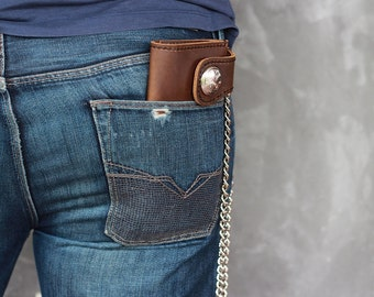 Leather Biker Wallet, Leather iPhone Wallet Case #012