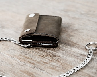 Trifold Chain Wallet, Biker Trifold Wallet, Mens Leather Biker Wallet, Trifold Chain Wallets, Mens Wallet, JooJoobs Mens Wallets #037