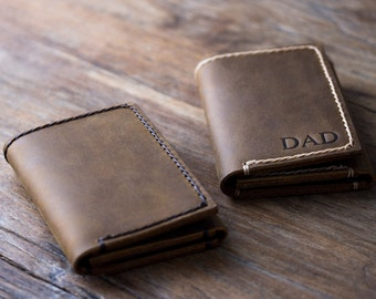 Trifold - PERSONALIZED WALLET - Men's Leather Trifold Wallet - Holds Lots & Lots of Money - 029