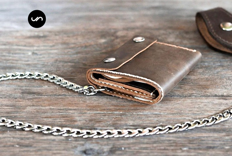 Mens Trifold Chain Wallet Biker Trifold Wallet Mens Leather image 0