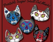 Printable Halloween Costume Day of the Dead Sugar Skull Cat Mask Photo Booth Prop Set