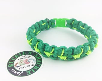 Barbed Wire Paracord Bracelet • Green/Neon Green •  8""