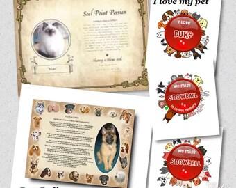 Personalized Proud Pedigree Dog Cat -I love my pet In loving memory Bird horse
