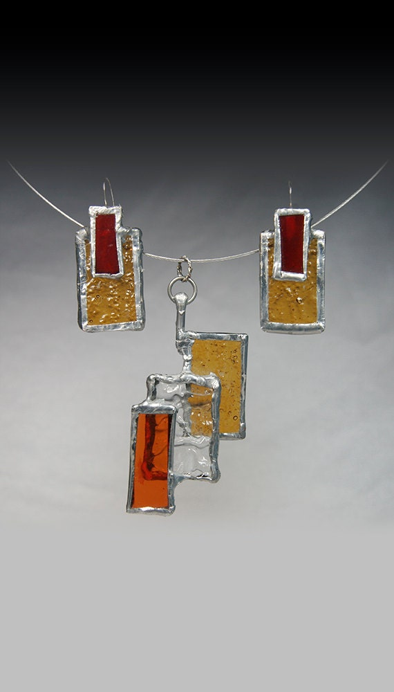 Stained Glass Earrings geometric jewelry RECTANGLE EARRINGS  Dichroic iridescent earrings  Stained Glass Jewelry