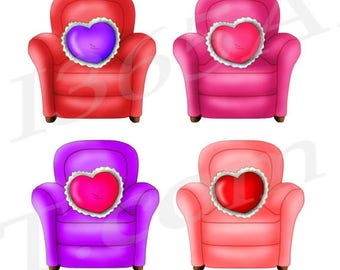 50% OFF Love chairs clipart, Chairs Clip art, Hearts, Love clipart, Pink Clipart, Graphics, Scrapbooking, printables, PNG, download