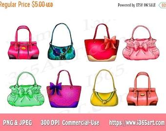 50% OFF Handbag Clipart, Handbag Clip art, Purse Clipart, Handbags, Cute Handbag Clipart, Party Invitations, Scrapbooking, PNG, Commercial