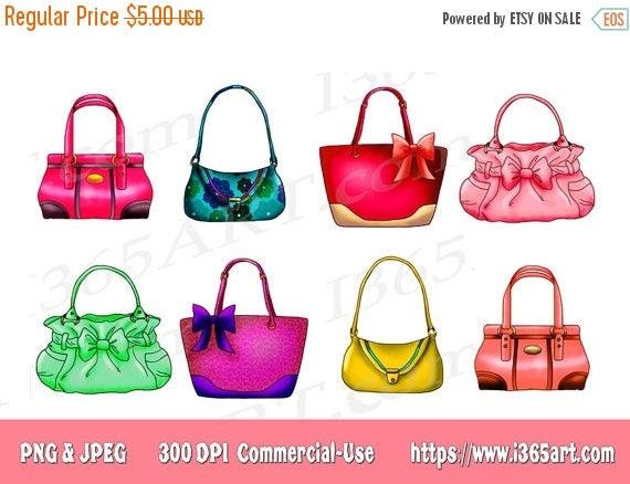 50 off handbag clipart handbag clip art purse clipart handbags rh etsystudio com Purse Bag Clip Art Purse Outline Clip Art