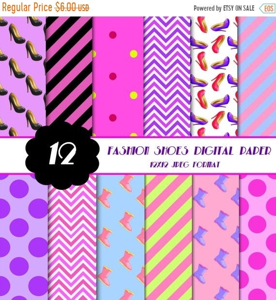 50 Off High Heel Shoes Digital Paper Fashion Theme Digital Papers