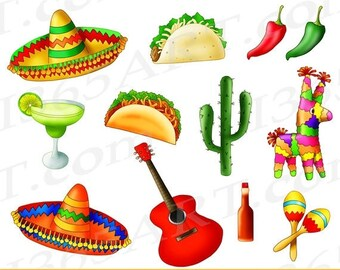 50% OFF Mexican Fiesta Clipart, Mexican Fiesta Clip Art, Cinco De Mayo Clipart, Mexican Clipart, Taco Tuesday, Mexican Food, taco party, PNG