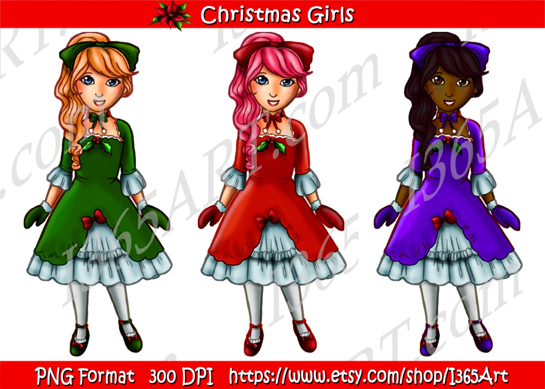 4724b823580 50% OFF Girls Holiday Clipart Set Paper Dolls Scrapbooking