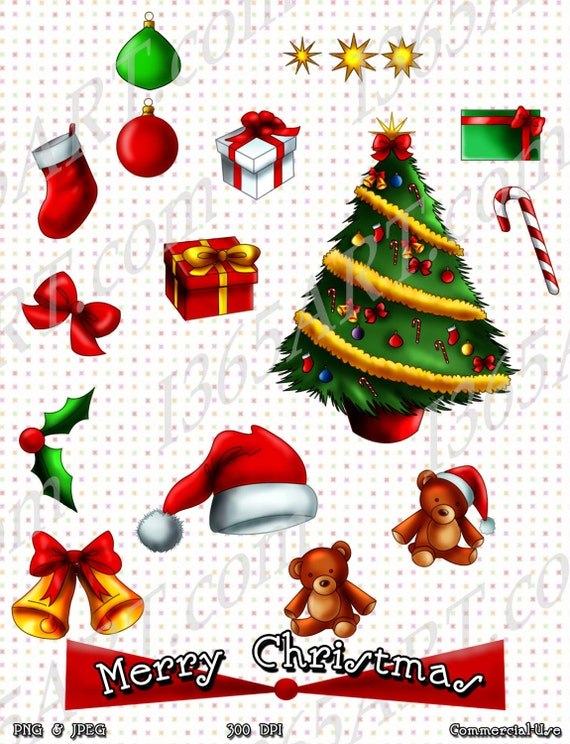 Christmas Holidays Clipart.50 Off Merry Christmas Holiday Clipart Scrapbooking Invitations Party Christmas Tree Jungle Bells Gift Boxes Tree Ornaments Png Jpeg