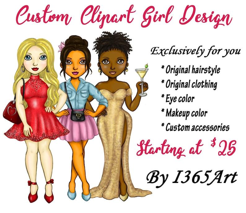 Custom Clipart Girl Design Custom Fashion Girl Fashion image 0