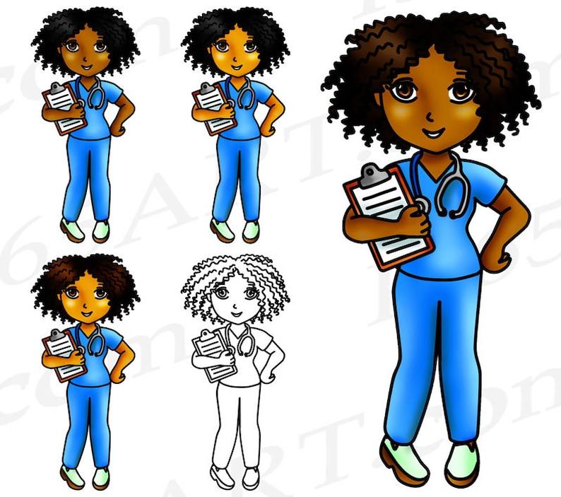 50% OFF Black Nurse Clipart Black Girl Nurse Clip Art   Etsy