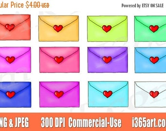50% OFF Love Letter Clipart, Love Letter Clip art, Love Letters, Envelope, Love Note, Valentine's Day, PNG, Planner Stickers, Commercial