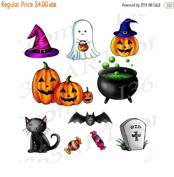 Items similar to 50% OFF Cute Halloween Clipart, Halloween ...