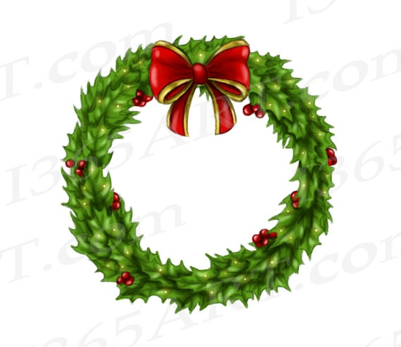 Christmas Reef Png.50 Off Holly Wreath Clipart Holly Wreath Png Holly Christmas Wreath Digital Wreath Hand Painted Invitations Scrapbooking Png