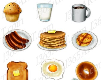 50% OFF Breakfast Clipart, Breakfast clip art, scrapbooking, Bacon and eggs, Digital, Breakfast Food, Pancakes, PNG, Commercial