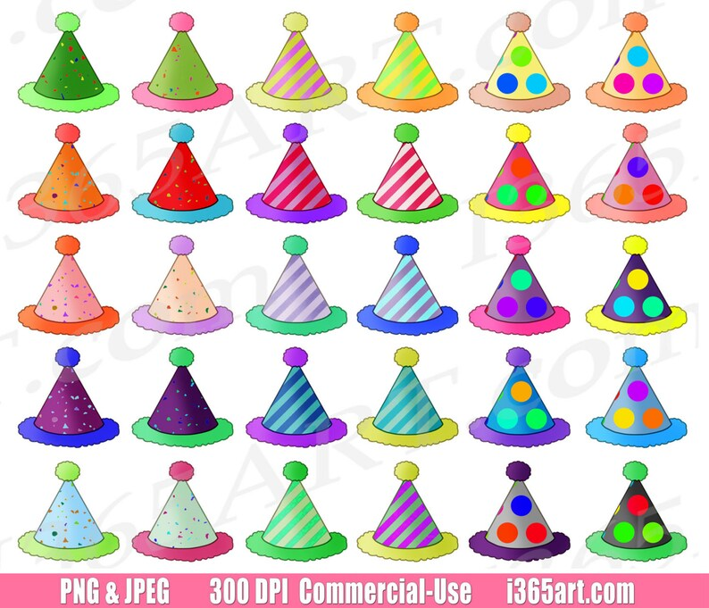 50 OFF Party Hats Clipart Birthday Clip Art