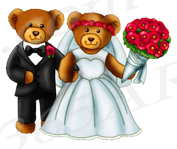 50% OFF Wedding Bears Clipart Bride And Groom Clipart