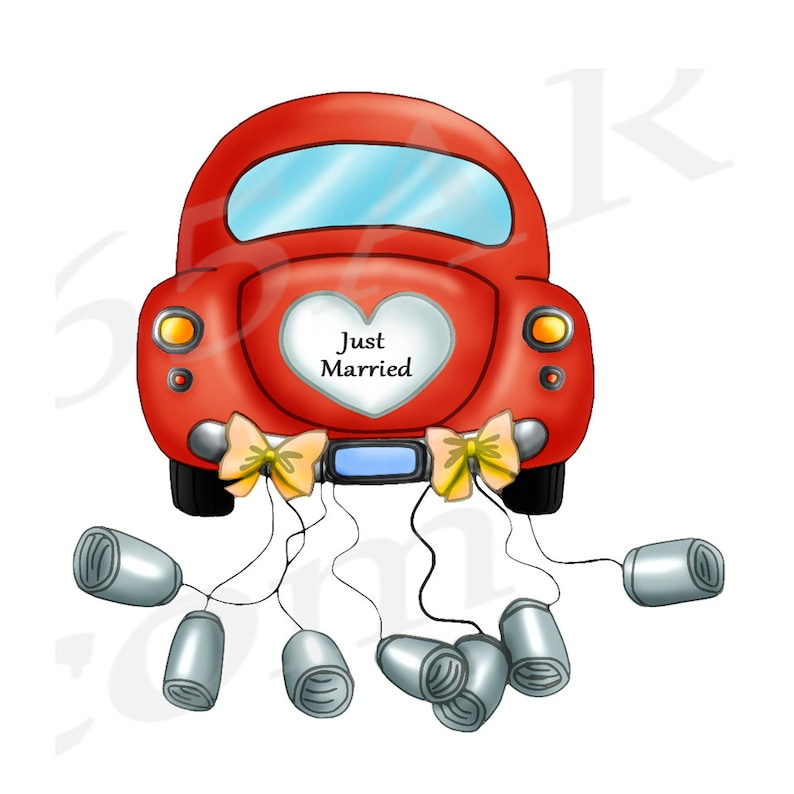 50 off just married car clipart clip art wedding car  etsy