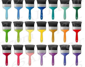50% OFF Paintbrush Clipart, Paint Brush Clip Art, Rainbow Paint Brush, Artist, Painting Clip Art, Paint Brushes, Planner Stickers, PNG