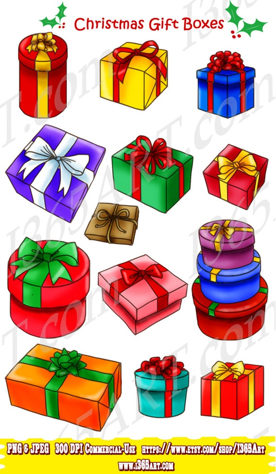 50 Off Gift Boxes Clipart Merry Christmas Clipart Scrapbooking