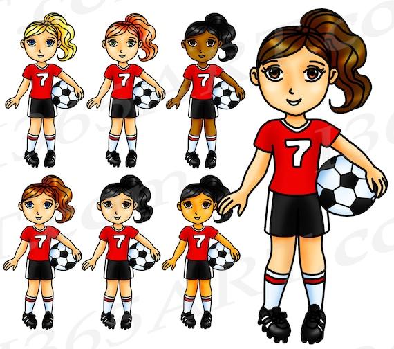 50 Rabatt Auf Fussball Clipart Fussball Madchen Sport Clip Art Rote Team Wm Olympiade Fussballspieler Sticker African American