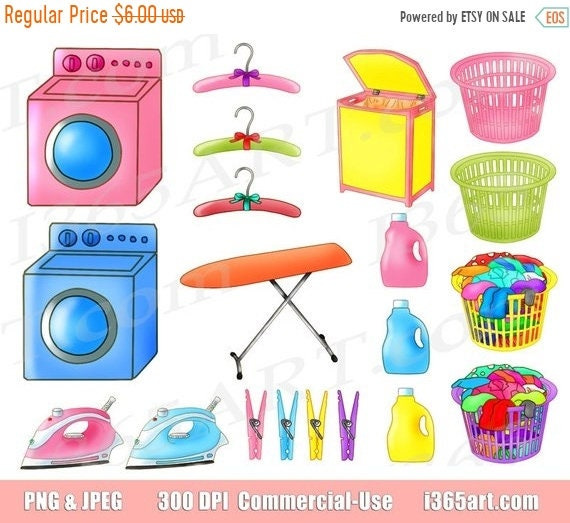 50% OFF Laundry clipart laundry clip art clothes washing ...