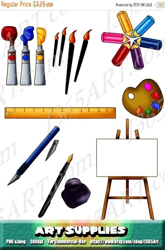 50 off art supplies clipart art supplies clip art painting etsy rh etsy com school supplies clipart suppliers clip art