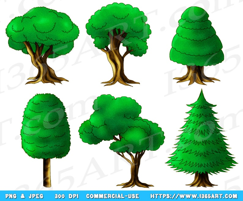 50 Off Tree Clipart Tree Clip Art Green Forest Clipart Etsy