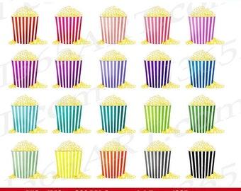 50% OFF Popcorn Clipart, Popcorn Clip Art, Movie Theater, Popcorn Box, Popcorn Bucket, Party Invitations, Scrapbooking, PNG, Commercial