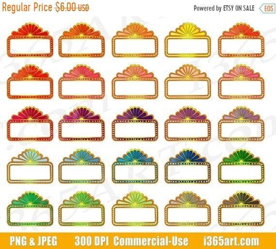 50 OFF Movie Marquee Clipart Theater Sign Clip Art