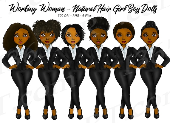 Buy 3 Get 1 Free Working Woman Natural Hair Clipart Girl Boss Black Girls African American Business Fashion Girl Work Day Career By I 365 Art Catch My Party