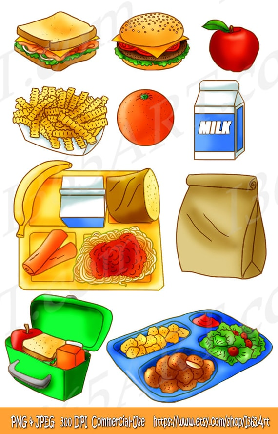 50 off school lunch clipart set food tray brown paper bag etsy rh etsy com Cafeteria Tray Clip Art Hospital Food Tray Clip Art