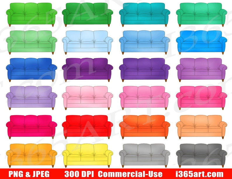 50 Off Sofa Clipart Couch Clip Art Planner Stickers Etsy
