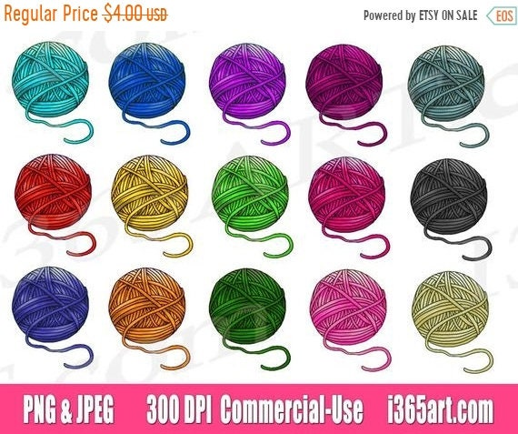 50 off yarn clipart clip art crochet clipart yarn ball etsy