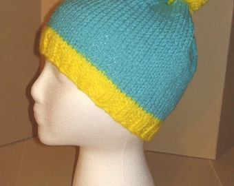 462b839ebbc9a Hand knit hat Beanie - Blue   Yellow