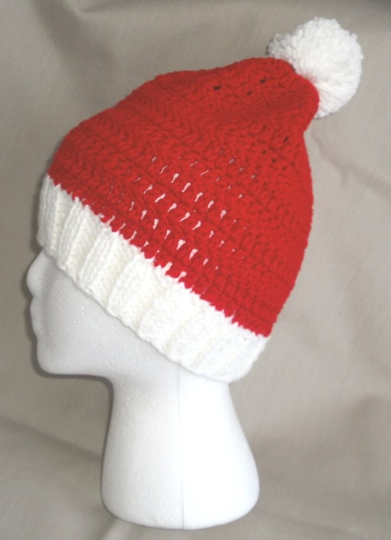 Red and White Handmade Unisex Knitted Beanie