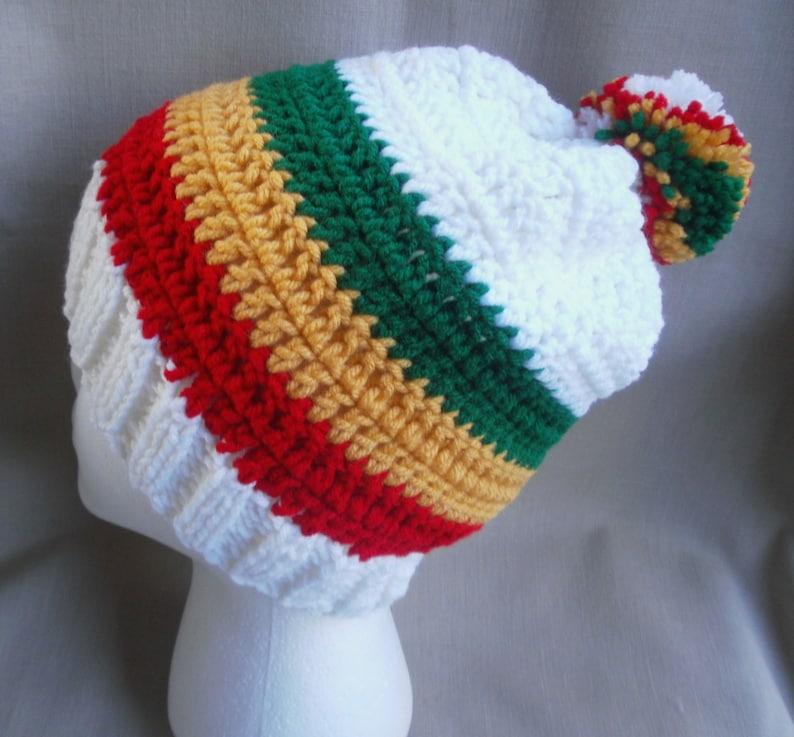 846cbbea743 Handmade crochet Rasta hat beanie...White w  Red Gold Green