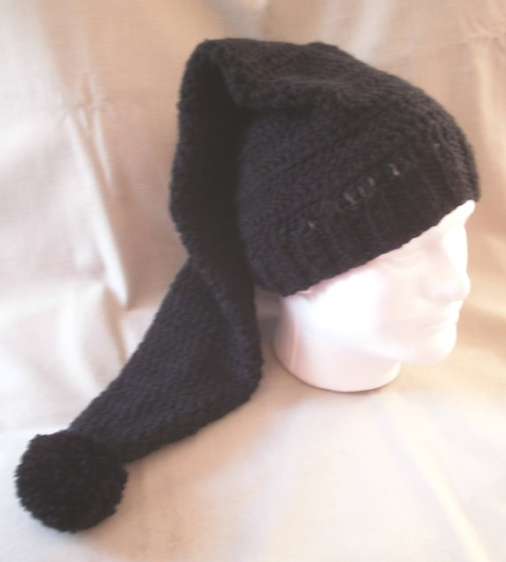 Hand knit hat beanie Black hat extra long  28dc72059a9