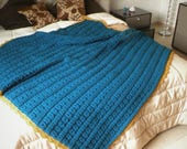 King queen size hand knit crochet afghan blanket, chunky throw coverlet customizable in your favorite colors. Handmade plaid sofa armchair