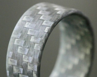 Silver Non-Conductive Ring. Men's Fiberglass Wedding Ring.