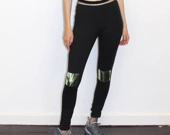 a28b947a06c Pretty Disturbia Green Metallic Knee Patch Punk Grunge Leggings